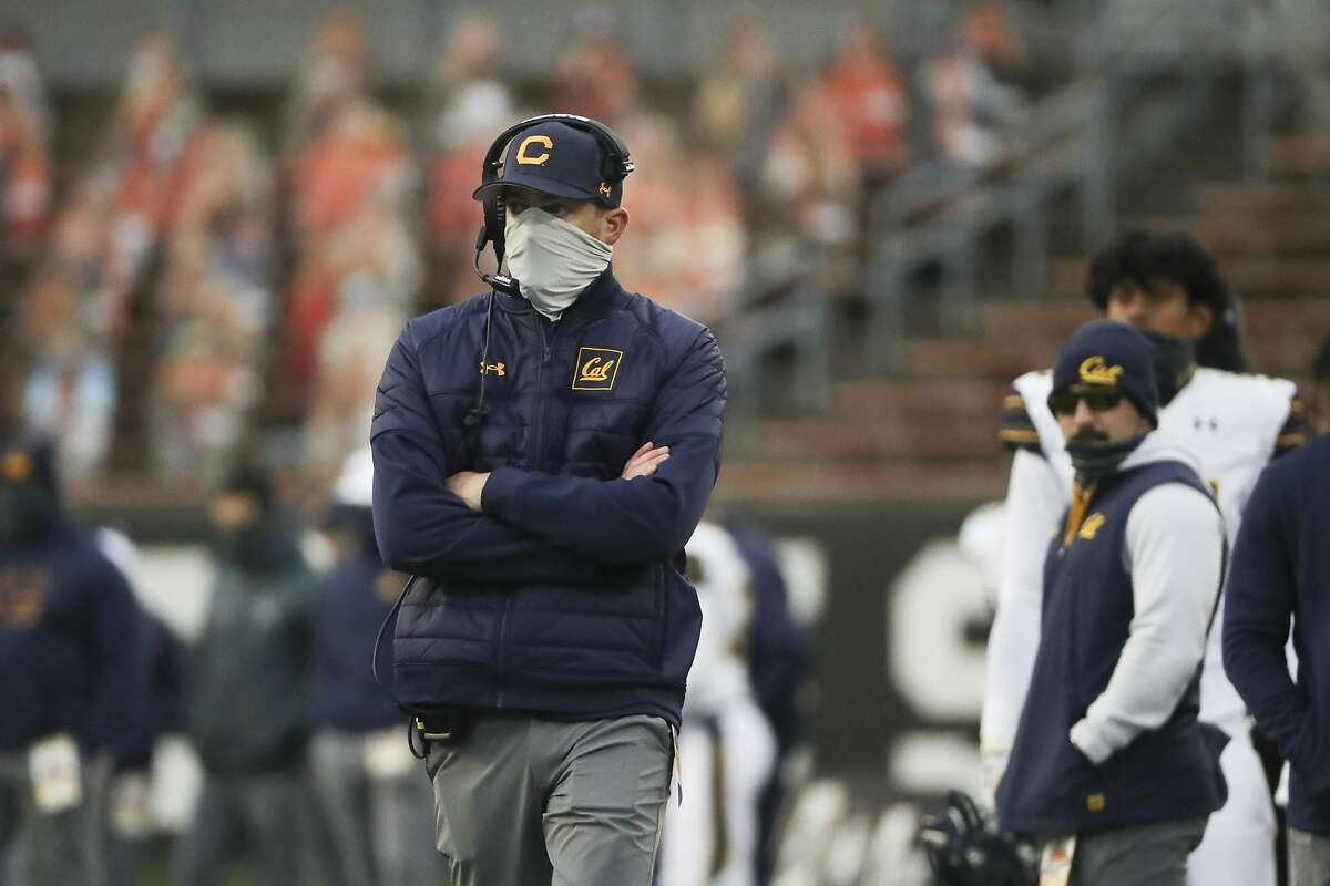 California head coach Justin Wilcox looks on during a play during the second half of an NCAA college football game against Oregon State in Corvallis, Ore., Saturday, Nov. 21, 2020. Oregon State won 31-27. (AP Photo/Amanda Loman)