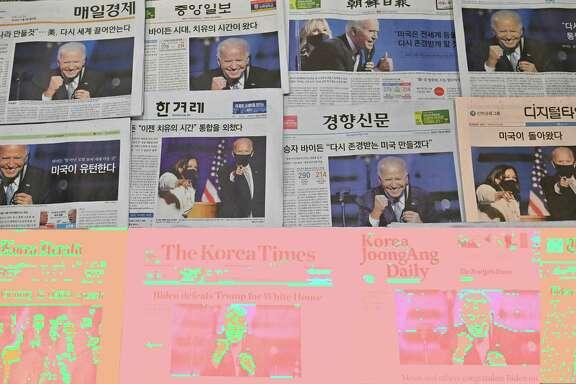 Newspapers around the globe recognize Democrat Joe Biden as the president-elect.