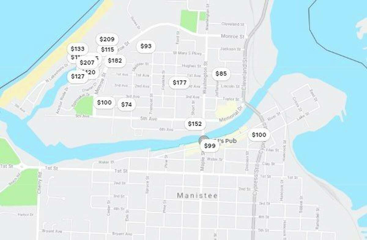 Airbnb shows the locations of Manistee rental properties. Manistee City Council will discuss a short-term rental ordinance at its work session Tuesday. (Screenshot/Airbnb)