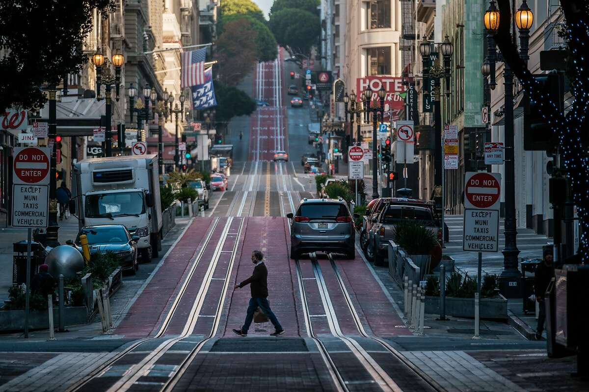 San Francisco's usually busy Powell Street is likely to remain quiet until the city lifts its shelter-in-place order, which is scheduled to be in effect until Jan. 4.