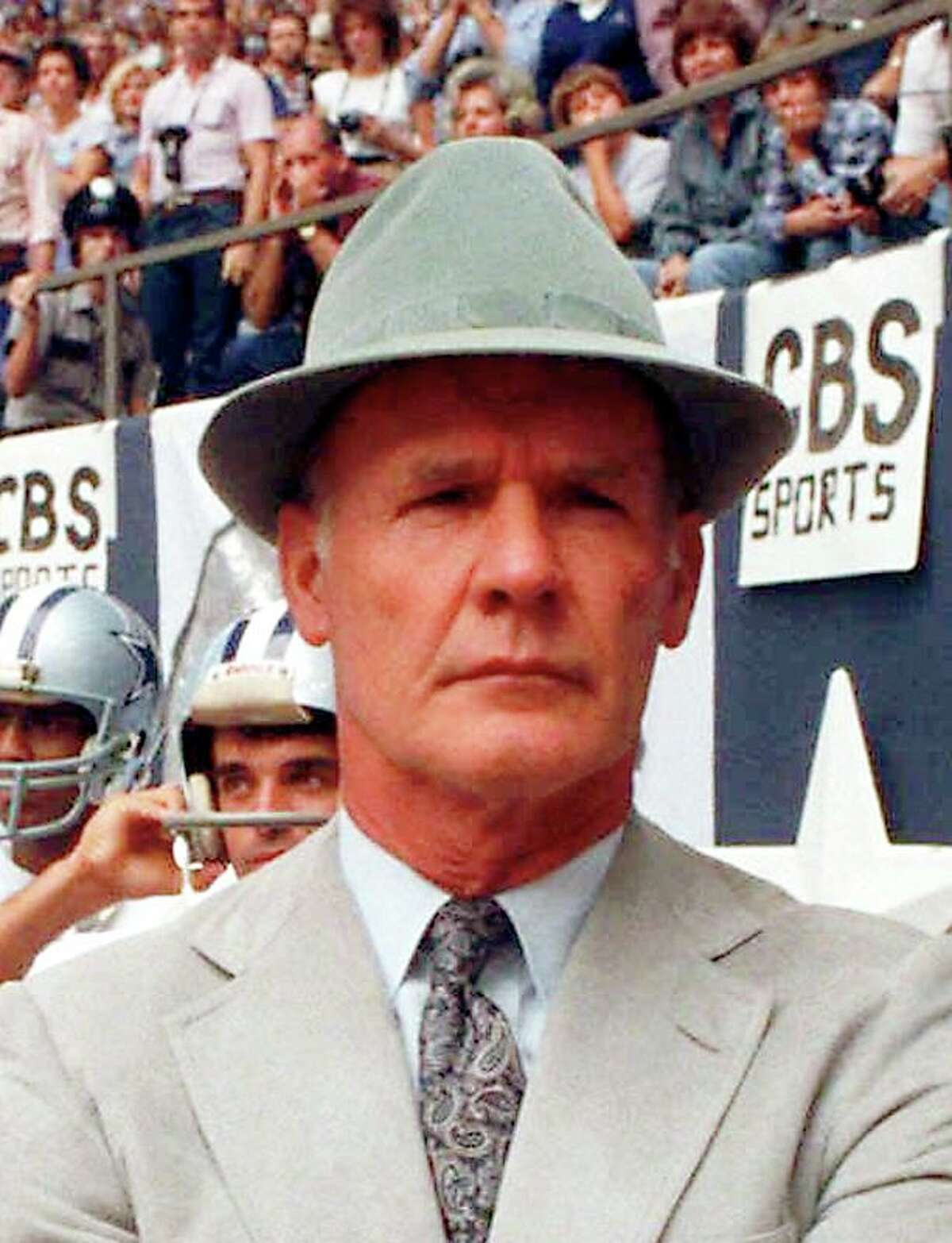 Dallas Cowboys coach Tom Landry coached the cowboys from their beginning in 1960 through 1988 winning two Super Bowls in five appearances.