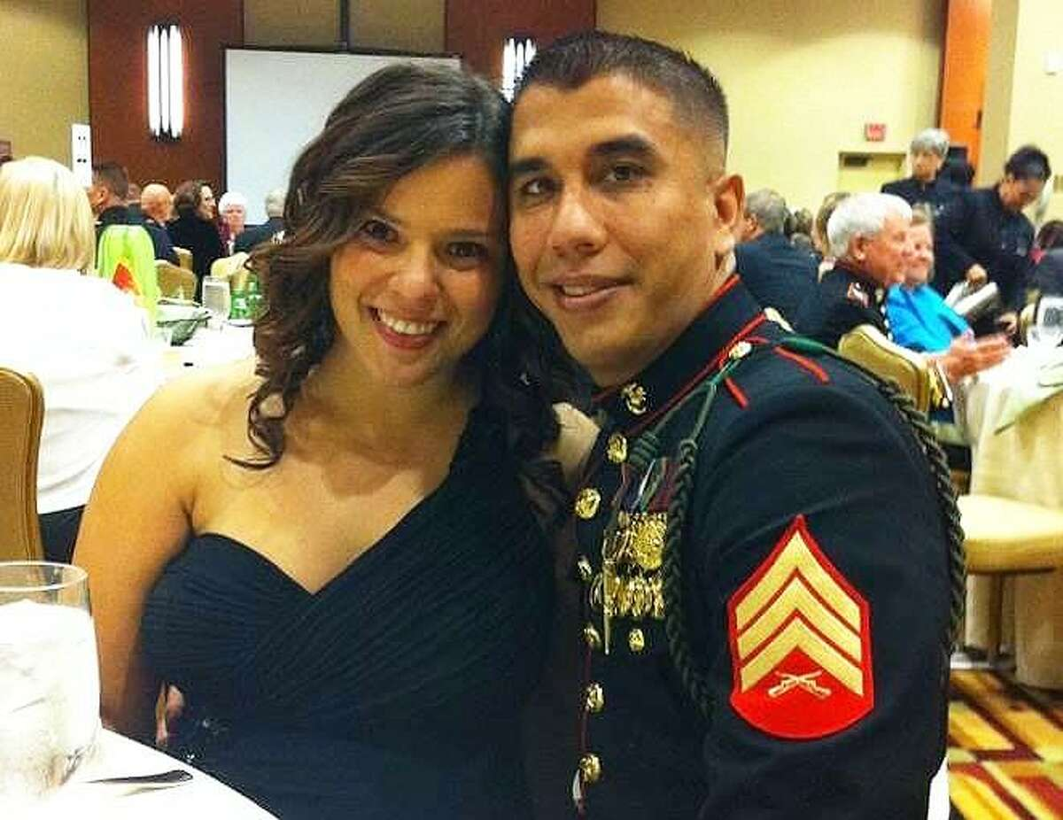 Sgt. Monty Gonzalez and his wife Tawnee attending the Marine Corps Ball in Houston in 2011. Gonzalez died suddenly on Nov. 28 at his home in Cypress.