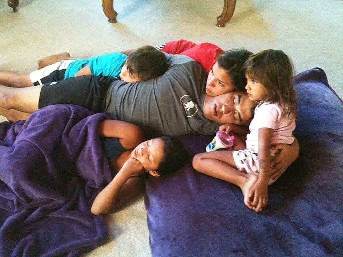 Gonzalez spending some quality snuggle time with his children when they were younger. His children Alyssa 17, Adryan 15, Kaylen 12, and Emry 6 are devasted by the loss of their daddy.