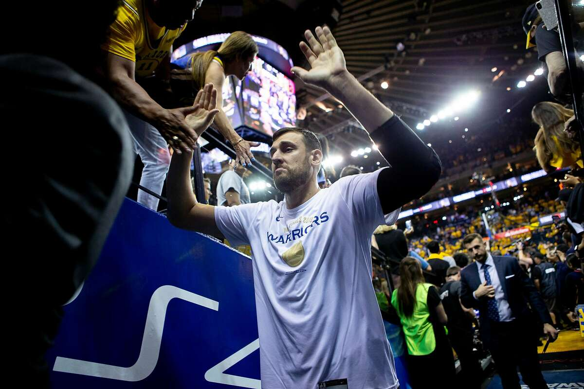 Golden State Warriors center Andrew Bogut (12) exits following Game 6 of the NBA Finals at Oracle Arena on Thursday, June 13, 2019, in Oakland, Calif. The Toronto Raptors won the game 114-110 and won the NBA Finals with a 4-2 series.