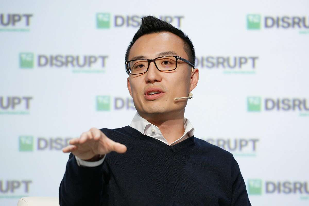 DoorDash CEO Tony Xu speaks at TechCrunch Disrupt in 2018. Revenue soared in 2020 and now DoorDash is going public.