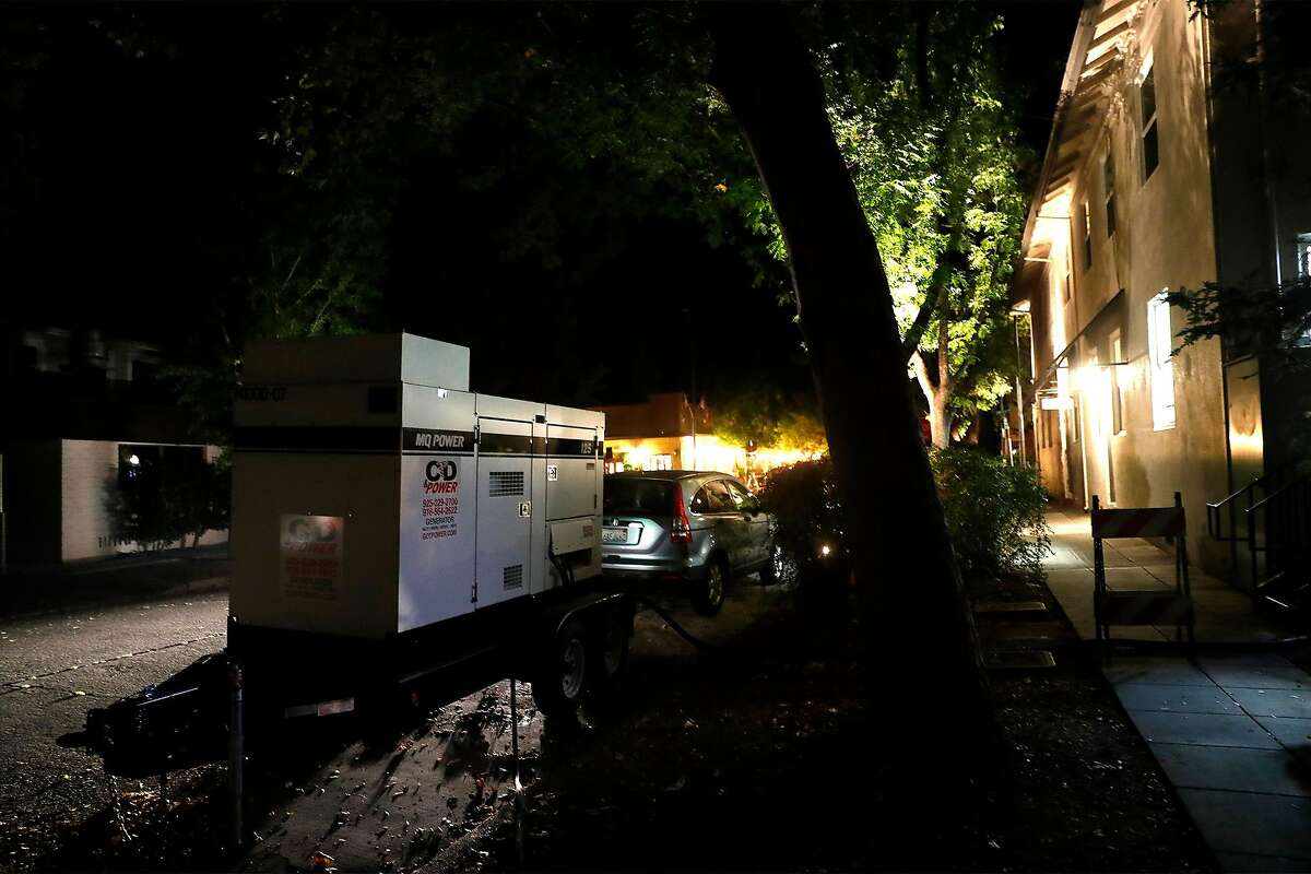 A generator on Cedar Street supplies electricity to the Calistoga Inn during a PG&E power shut off in October. More outages are likely on Monday, though most Calistoga residents are not expected to be affected.