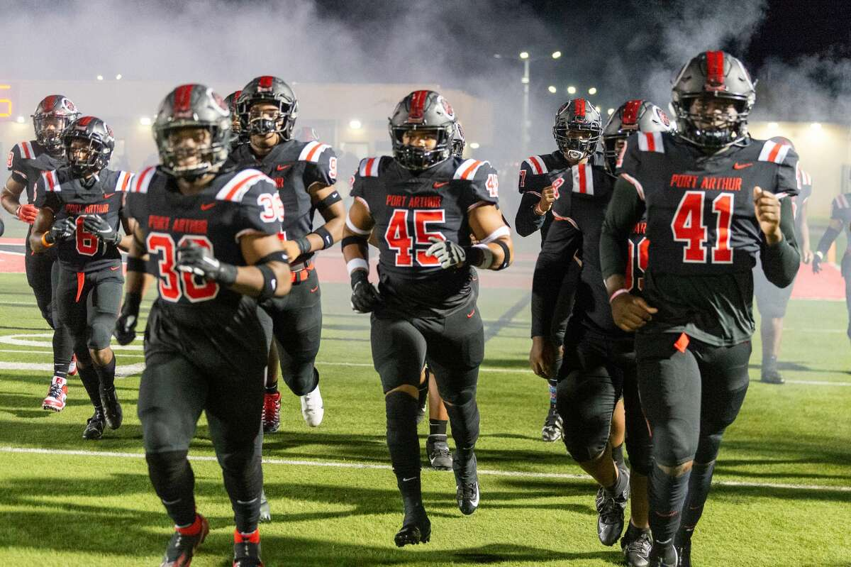 The Titans take the field to defend their unbeaten streak. The Port Arthur Memorial Titans played Friendswood Mustangs in the final game trying to finish their season undefeated. Photo made on December 4, 2020. Fran Ruchalski/The Enterprise