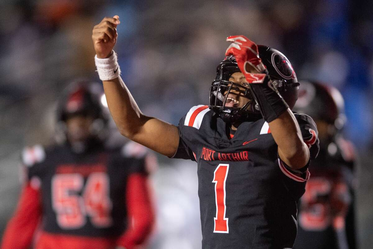 Titans quarterback Jah'mar Sanders (1) celebrates his second touchdown of the game. The Port Arthur Memorial Titans played Friendswood Mustangs in the final game trying to finish their season undefeated. Photo made on December 4, 2020. Fran Ruchalski/The Enterprise