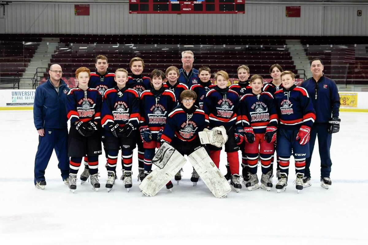 The 2020-21 Big Rapids bantams Ice Dogs hockey team.John Ososki is the head coach while Todd Dew and Michael Grant are assistant coaches. Playersare Chase Carlson, Reese Dew, Jonathan Losinski, Roman Meyers, Cameron Miller, Brayden Olds, Broderick Ososki, Nicholas Pischel, Eli Shields, Aidan Smith, Caleb Speese Ethan Voight, Wyatt Welch, Ari Ziska and Isaac Zocco. (Photos courtesy of Ron Repke)