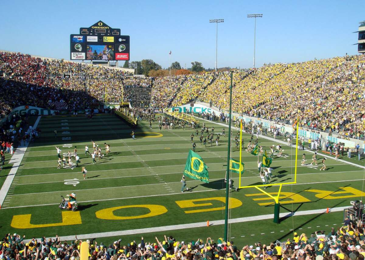 #50. Autzen Stadium - College: Oregon - Conference: Pac 12 - Capacity: 54,000 - Opened: 1967 Fast facts: Autzen Stadium was named after Thomas J. Autzen, a 1943 University of Oregon graduate whose Autzen Foundation donated $250,000 in the 1960s for the construction of a new stadium at the school. The stadium was used in the 1978 film