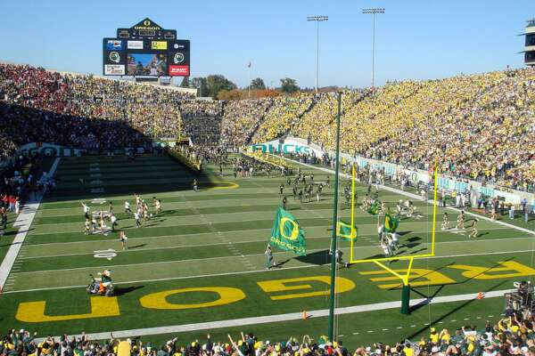 "#50. Autzen Stadium - College: Oregon - Conference: Pac 12 - Capacity: 54,000 - Opened: 1967 Fast facts: Autzen Stadium was named after Thomas J. Autzen, a 1943 University of Oregon graduate whose Autzen Foundation donated $250,000 in the 1960s for the construction of a new stadium at the school. The stadium was used in the 1978 film ""National Lampoon's Animal House"" as Faber College Football Stadium. Marquee game: Oct. 15, 2011 - Oregon 41, Arizona State 27"