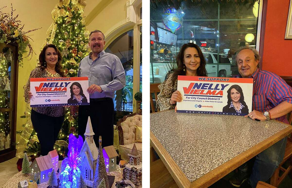 Nelly Vielma received endorsements from former opponents Celestino Marina, right, and George Beckelhymer, left, in her candidacy for City Council District V.