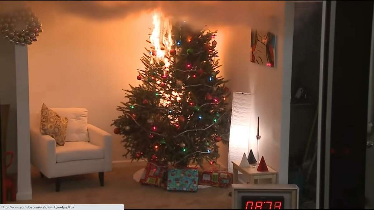 A fire safety example conducted by the U.S. Consumer Product Safety Commission demonstrates how fast a dried out Christmas tree fire burns, with flashover occurring in less than one minute.