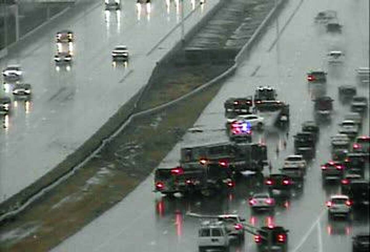 In Bridgeport, one-vehicle accident on southbound Route 8 closed two left lanes between exits 5 and 3. The crash was reported at 11:16 a.m. on Saturday, Dec. 5, 2020.