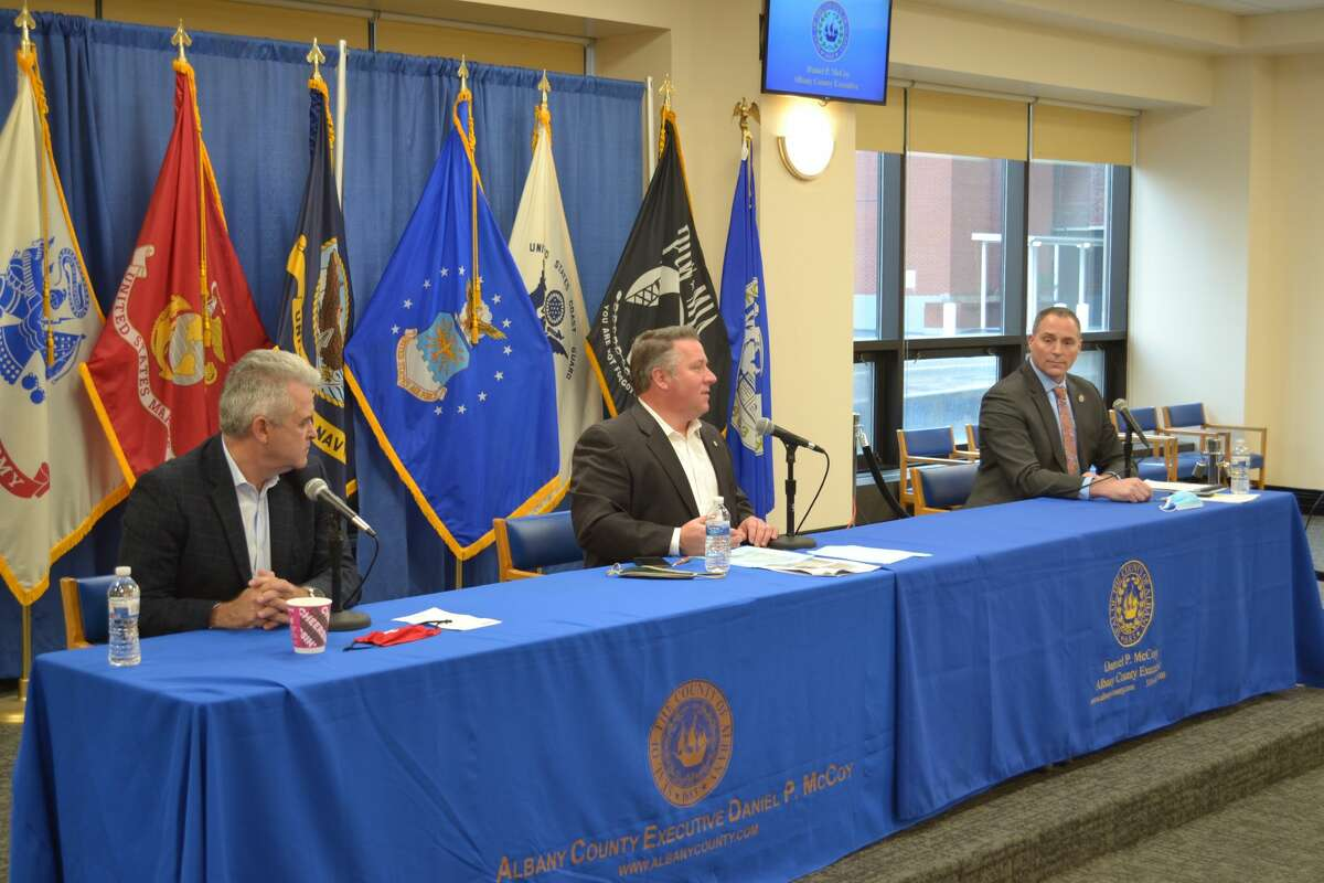 Rensselaer County Executive Steve McLaughlin, Albany County Executive Dan McCoy and Schenectady County Manager Rory Fluman addressed the virus pandemic's surge during a Saturday, Dec. 5, 2020 hearing.