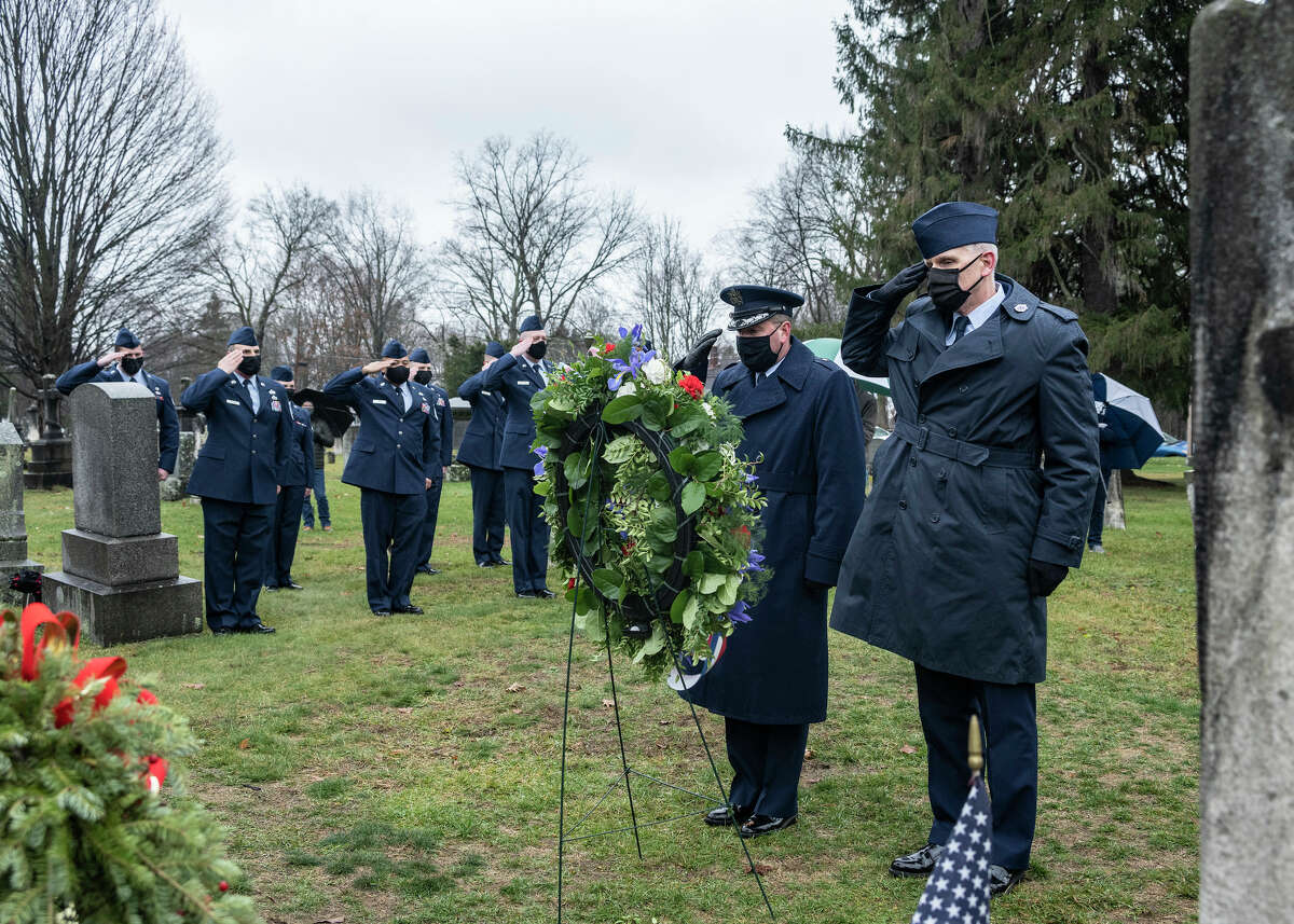 On Saturday, Dec. 5, New York National Guard Airmen honored Martin Van Buren, the nation's eighth president, in his birthplace of Kinderhook. Brigadier Gen. Michael Bank, the assistant adjutant general-Air for the Guard, joined Command Chief Master Sgt. Jeffery Trottier, the top non-commissioned officer of the 109th Airlift Wing, in presenting a wreath from President Donald Trump at Van Buren's grave.