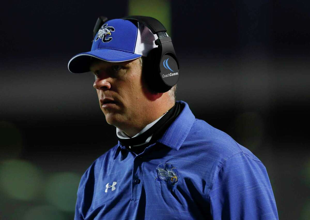New Caney head coach Travis Reeve is seen during the first quarter of a District 8-5A high school football game at Randall Reed Stadium, Friday, Oct. 9, 2020, in Porter.