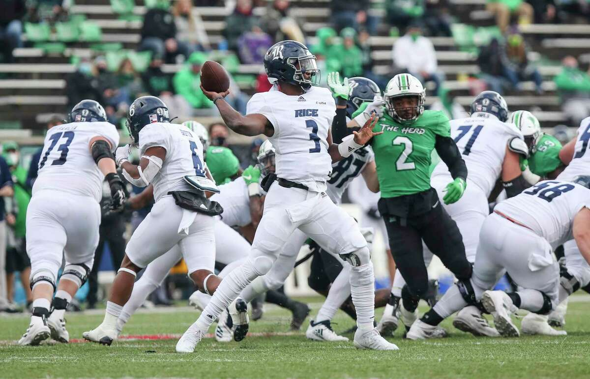 Rice quarterback JoVoni Johnson (3) makes a throw during an NCAA college football game against Marshall on Saturday, Dec. 5, 2020, in Huntington, W.Va. (Sholten Singer/The Herald-Dispatch via AP)