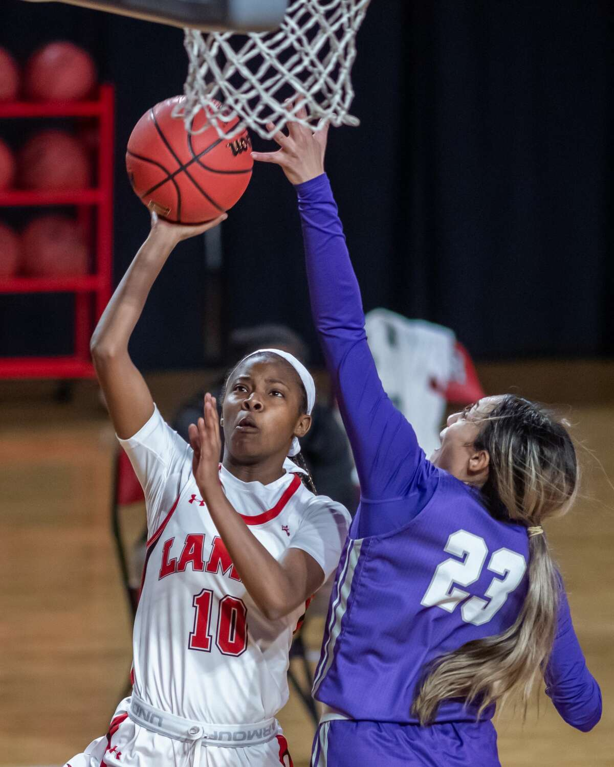 Malay McQueen (10) puts up a shot in the second half. The Lamar Lady Cardinals downed the Tarleton State TexAnns in their home openier Saturday afternoon at the Montagne Center. Photo made on December 5, 2020. Fran Ruchalski/The Enterprise