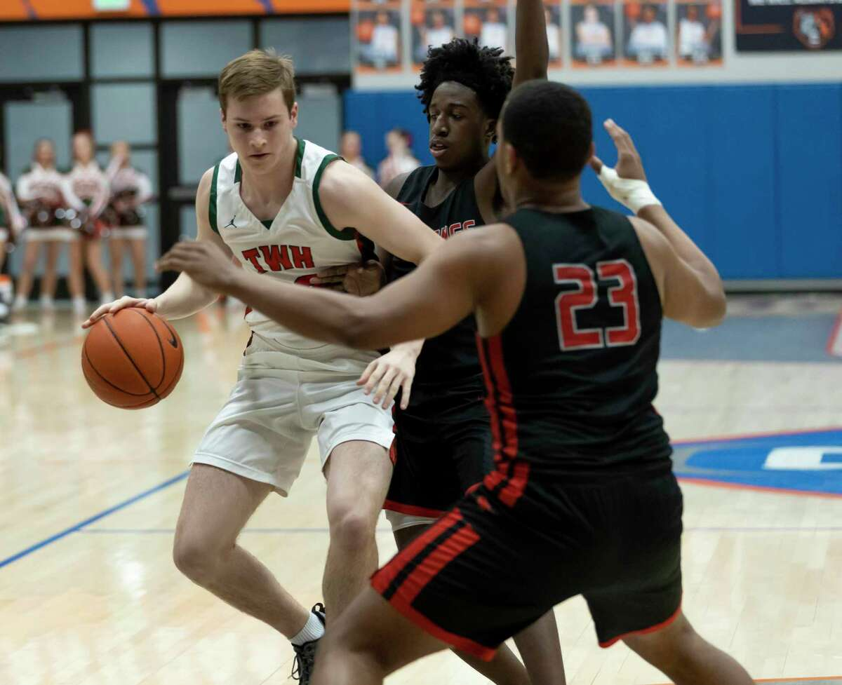 The Woodlands guard Brock Luechtefeld (22), shown here last season, led the Highlanders against Houston Memorial Saturday with 10 points.