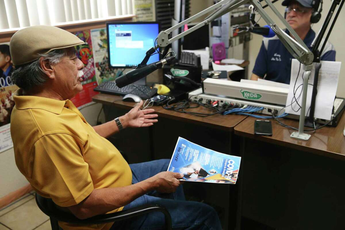 """Henry Rodriguez, 76, with LULAC, goes on air Thursday with KEDA's Leroy """"She, Na, Na"""" Reyes, to encourage Hispanics to participate in COVID-19 research studies."""