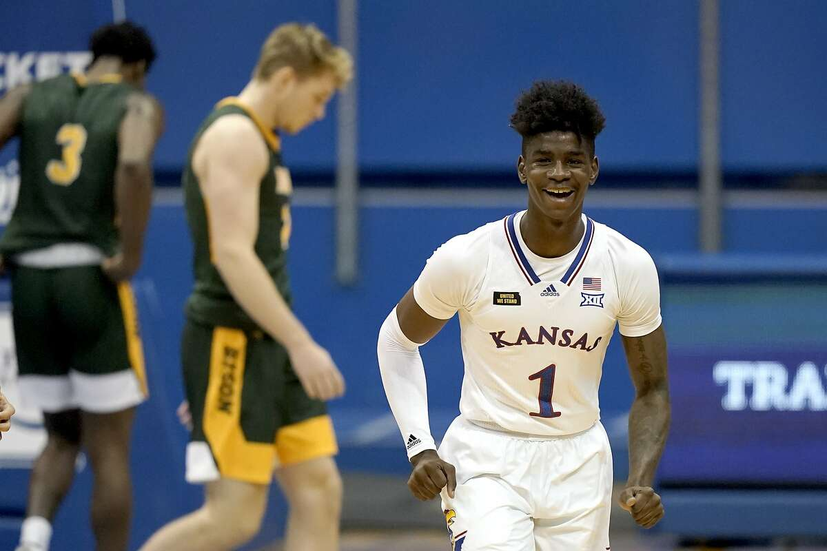 Kansas' Tyon Grant-Foster enjoys the outcome of the seventh-ranked Jayhawks' 14-point triumph over North Dakota State on Saturday in Lawrence.