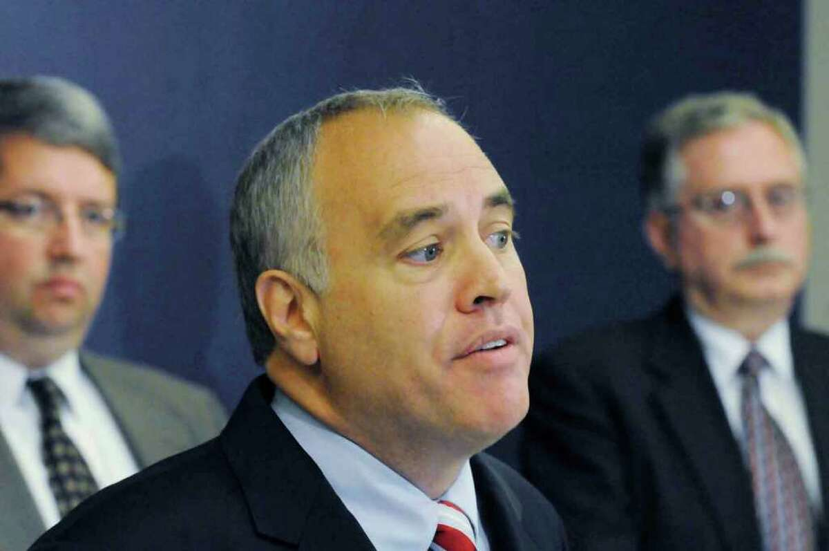 State Comptroller Thomas P. DiNapoli talksThursday about a review of the state pension fund requiring a funding boost during a news conference at his office in Albany.( Michael P. Farrell / Times Union )