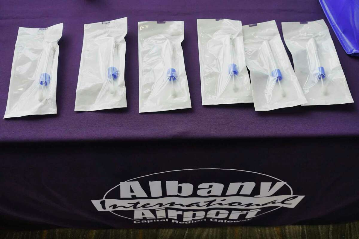 A view of some saliva test kits developed at SUNY Upstate Medical University, seen at a press conference at the Albany International Airport on Sunday, Dec. 6, 2020, in Colonie, N.Y. It was announced at the press conference that that the saliva test is planned to be used to test all airport employees and ultimately be available to passengers for a fee. (Paul Buckowski/Times Union)