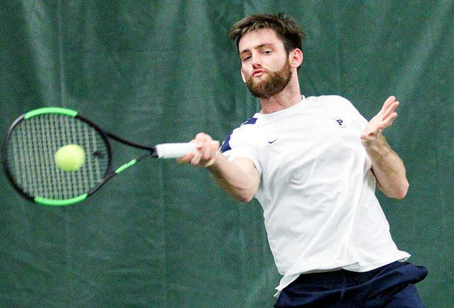 Daniel Gomez of Principia is one of nine Prin players named to the recent SLIAC ALL-Decade men's tennis team for 2020-2019. He was the 2019 SLIAC Player of the Year and earned First Team all-conference honors. Photo: Principia Athletics