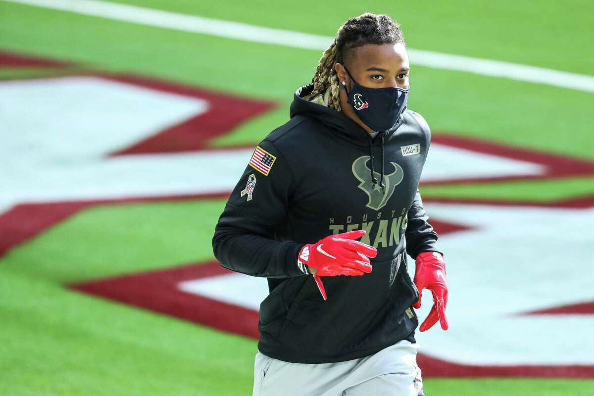 Houston Texans strong safety Justin Reid jogs around the field before an NFL football game against the Indianapolis Colts at NRG Stadium on Sunday, Dec. 6, 2020, in Houston.