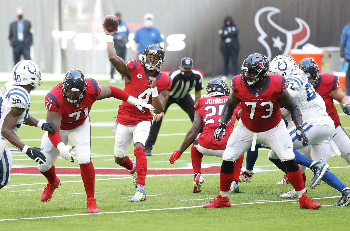 Houston Texans quarterback Deshaun Watson (4) passes the ball during the first half of an NFL football game at NRG Stadium, Sunday, December 6, 2020, in Houston.