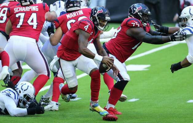 Houston Texans quarterback Deshaun Watson (4) scrambles out of the pocket against the Indianapolis Colts during the first half of an NFL football game at NRG Stadium on Sunday, Dec. 6, 2020, in Houston. Photo: Brett Coomer, Staff Photographer / © 2020 Houston Chronicle