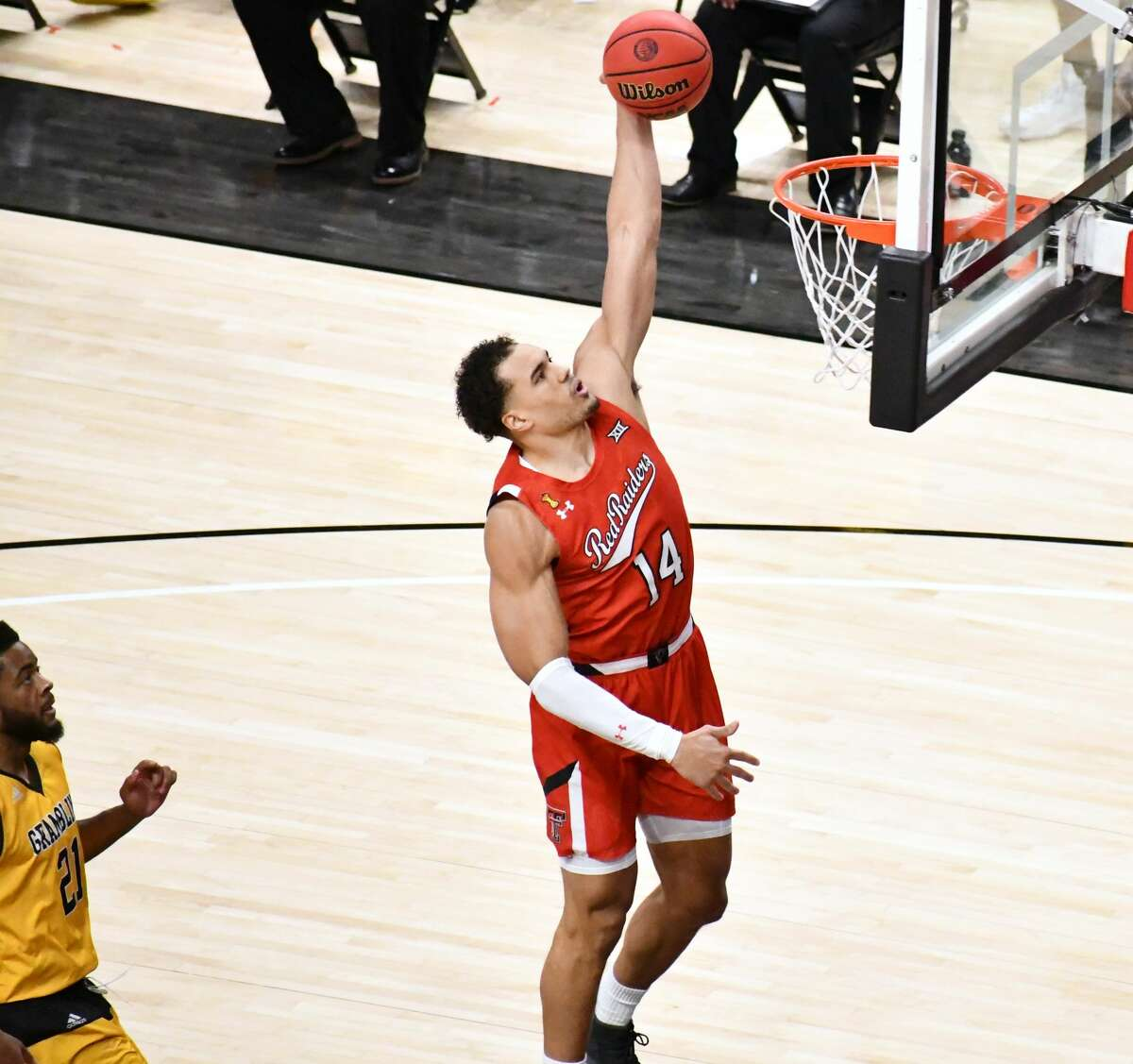 Texas Tech's Marcus Santos-Silva throws down a dunk during an 81-40 win over Grambling State on Nov. 6, 2020 in the United Supermarkets Arena in Lubbock.