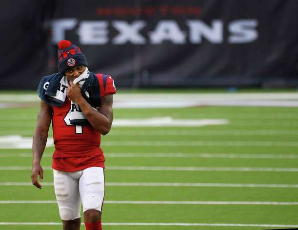 Houston Texans quarterback Deshaun Watson (4) reacts as he walked back to the locker room after he fumbled the ball for a turnover with minutes to go in the game after an NFL football game at NRG Stadium, Sunday, December 6, 2020, in Houston. Photo: Karen Warren, Staff Photographer / © 2020 Houston Chronicle