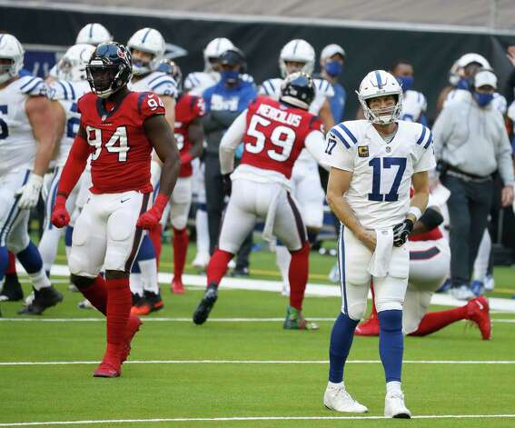 Indianapolis Colts quarterback Philip Rivers (17) reacts after a stop by the Houston Texans defense during the second half of an NFL football game at NRG Stadium, Sunday, December 6, 2020, in Houston. Photo: Karen Warren, Staff Photographer / © 2020 Houston Chronicle