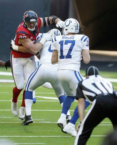 Houston Texans defensive end J.J. Watt (99) tries to get at Indianapolis Colts quarterback Philip Rivers (17) during the second half of an NFL football game at NRG Stadium, Sunday, December 6, 2020, in Houston. Photo: Karen Warren, Staff Photographer / © 2020 Houston Chronicle