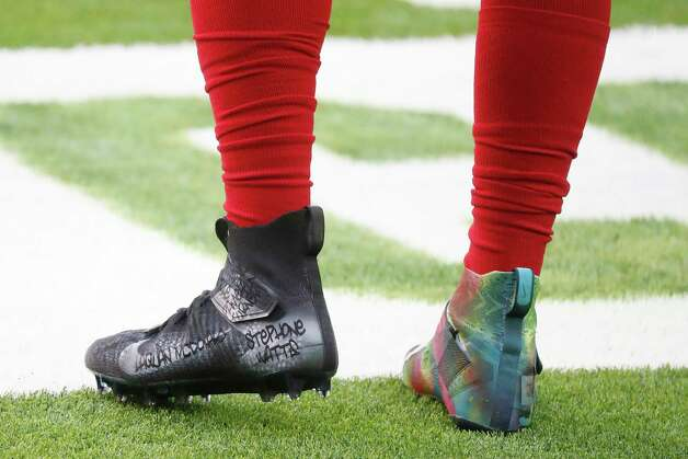 Houston Texans outside linebacker Whitney Mercilus' my cause, my cleats featuring WithMerci Foundation during the second half of an NFL football game at NRG Stadium, Sunday, December 6, 2020, in Houston. Photo: Karen Warren, Staff Photographer / © 2020 Houston Chronicle