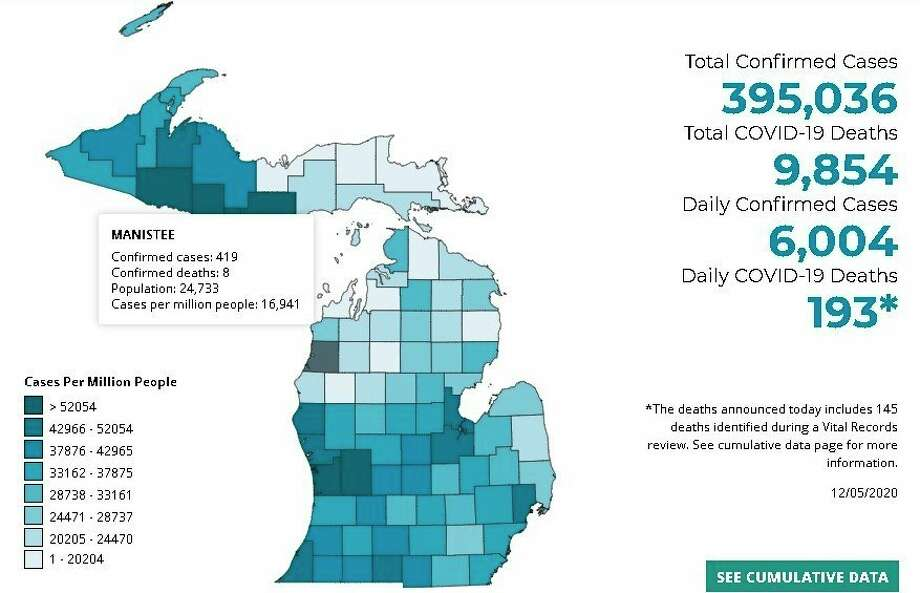 Manistee County has had419 cases of COVID-19, according to the Michigan Department of Health and Human Services' data. (MDHHS graphic)