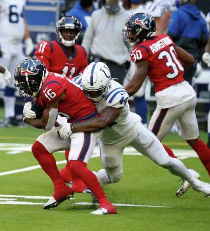 Houston Texans wide receiver Keke Coutee (16) tries to gain yardage against Indianapolis Colts outside linebacker Zaire Franklin (44) during the second half of an NFL football game at NRG Stadium, Sunday, December 6, 2020, in Houston. Photo: Karen Warren, Staff Photographer / © 2020 Houston Chronicle