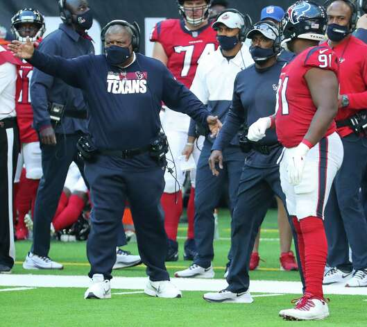 Houston Texans head coach Romeo Crennel argues an interception call, that was confirmed  after a review, during the third quarter of an NFL football game against the Indianapolis Colts at NRG Stadium on Sunday, Dec. 6, 2020, in Houston. Photo: Brett Coomer, Staff Photographer / © 2020 Houston Chronicle