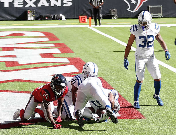 Indianapolis Colts defensive back Tavon Wilson (31) catches the football in the end zone for a touchdown during the first half of an NFL football game at NRG Stadium, Sunday, December 6, 2020, in Houston. Photo: Karen Warren, Staff Photographer / © 2020 Houston Chronicle