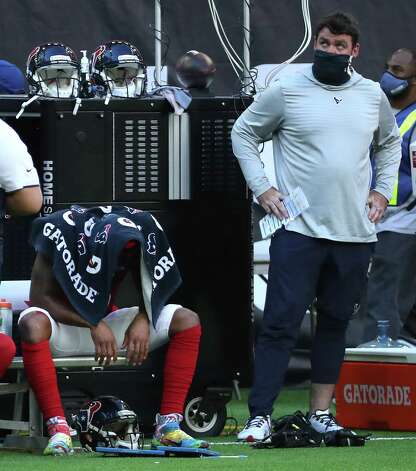 Houston Texans quarterback Deshaun Watson (4) sits on the bench next to offensive coordinator Tim Kelly, after losing a fumble near the goal line during the fourth quarter of an NFL football game against the Indianapolis Colts at NRG Stadium on Sunday, Dec. 6, 2020, in Houston. Photo: Brett Coomer, Staff Photographer / © 2020 Houston Chronicle