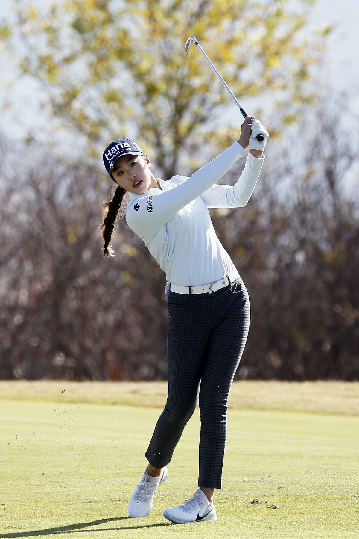 Yealimi Noh plays a shot from the sixth fairway during the final round of the LPGA Volunteers of America Classic golf tournament in The Colony, Texas, Sunday, Dec. 6, 2020. (AP Photo/Ray Carlin)