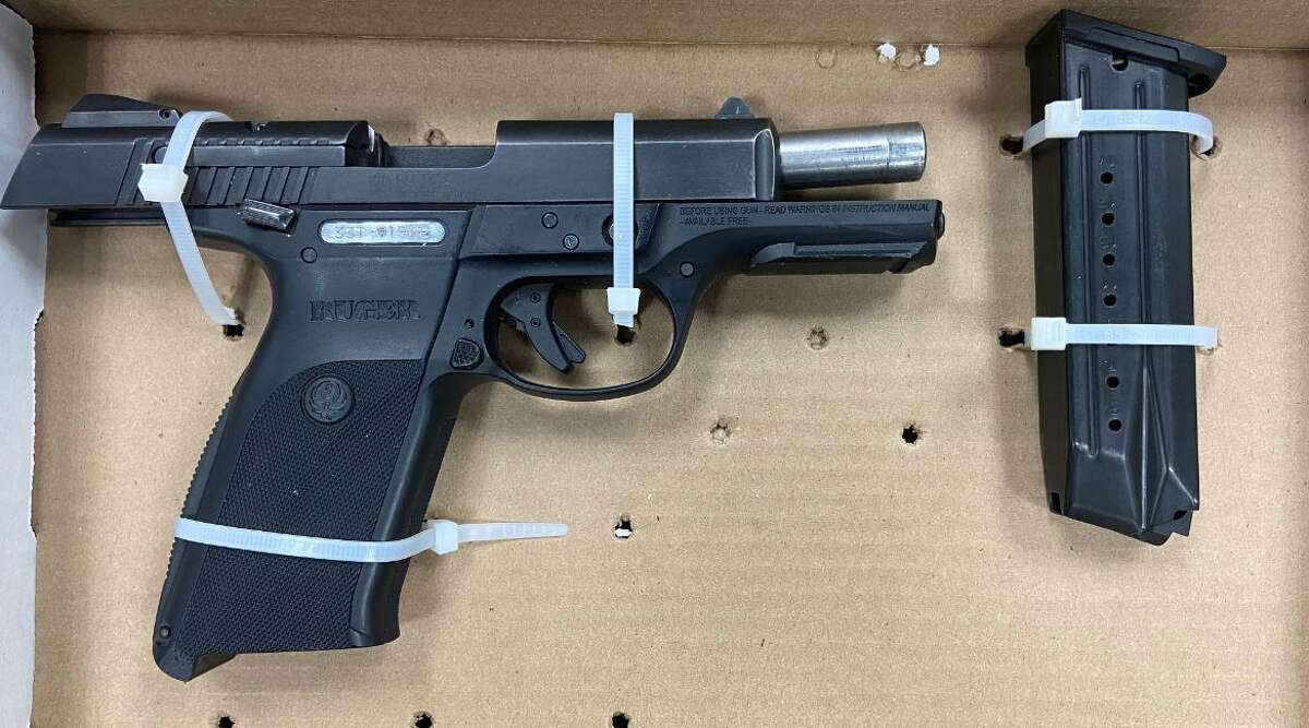 Police say this gun, seized during a traffic stop arrest Sunday night, was stolen out of St. Johnsbury, Vt.