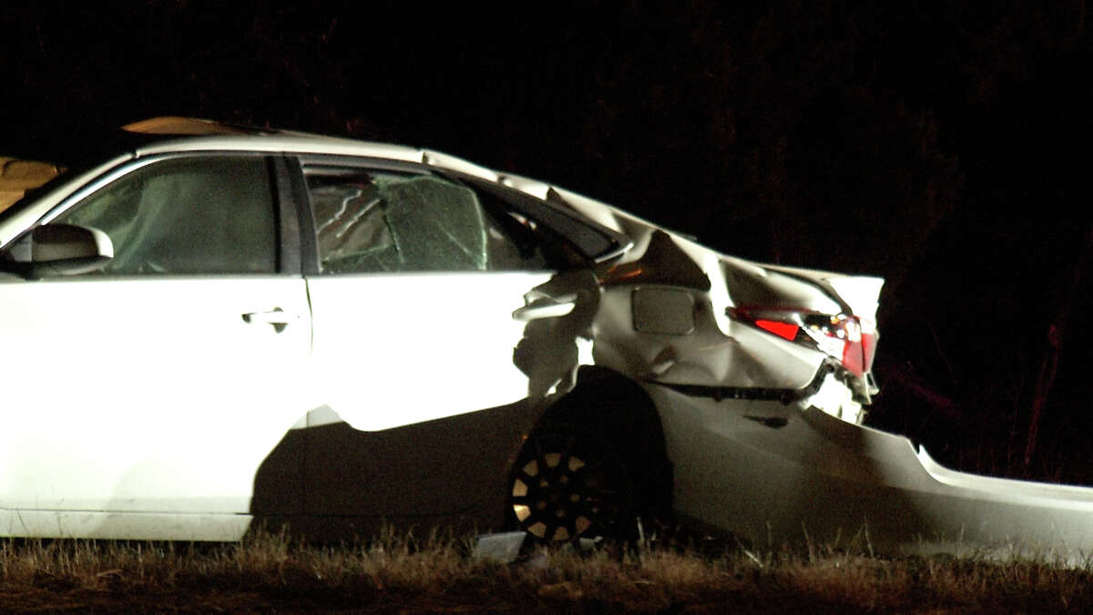 Bexar County Sheriff's deputies are searching for the driver of a car after the vehicle crashed into a pole on the far North Side Monday morning.