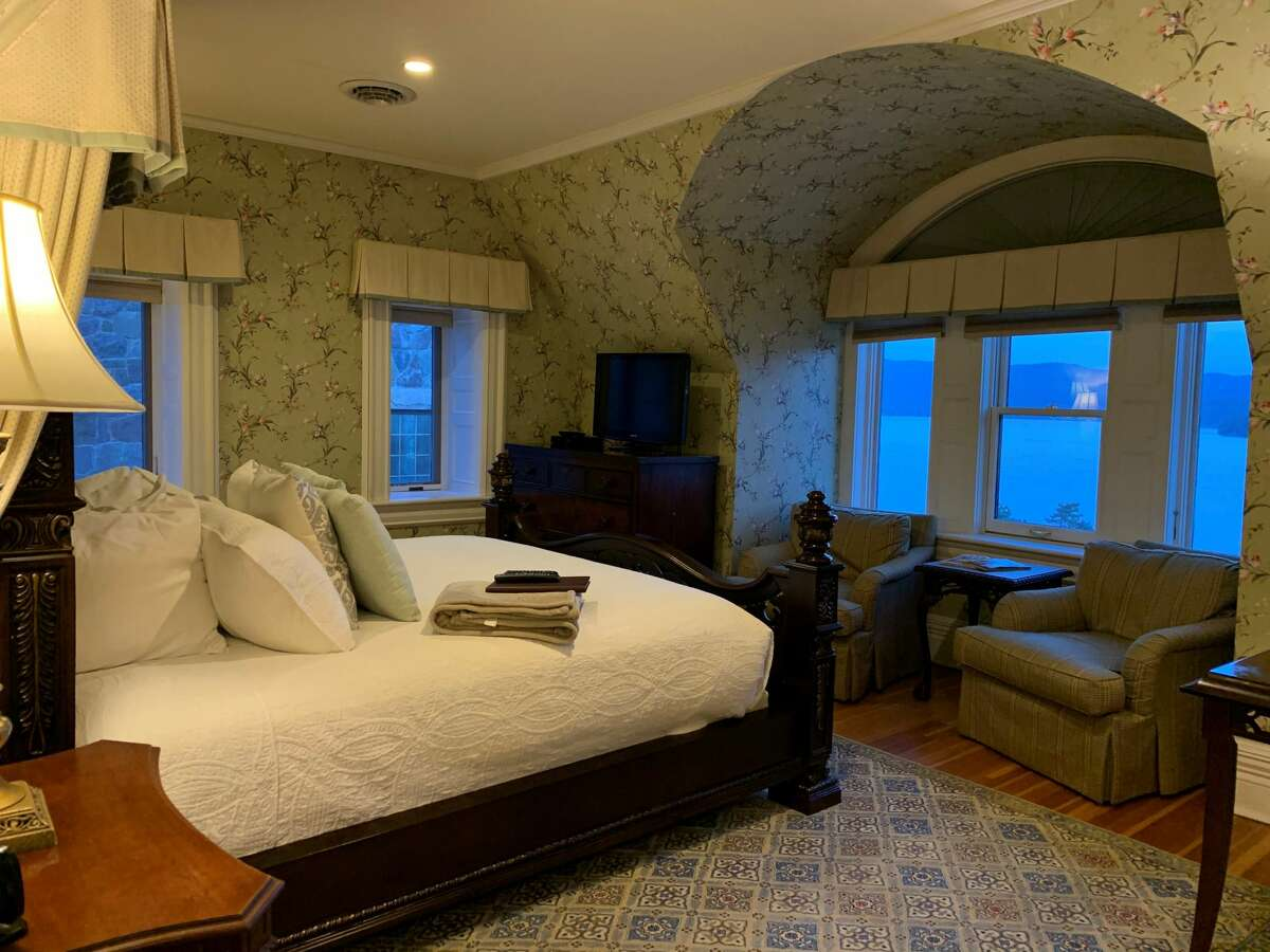 The room with mountain views at Lake George's The Inn at Erlowest.