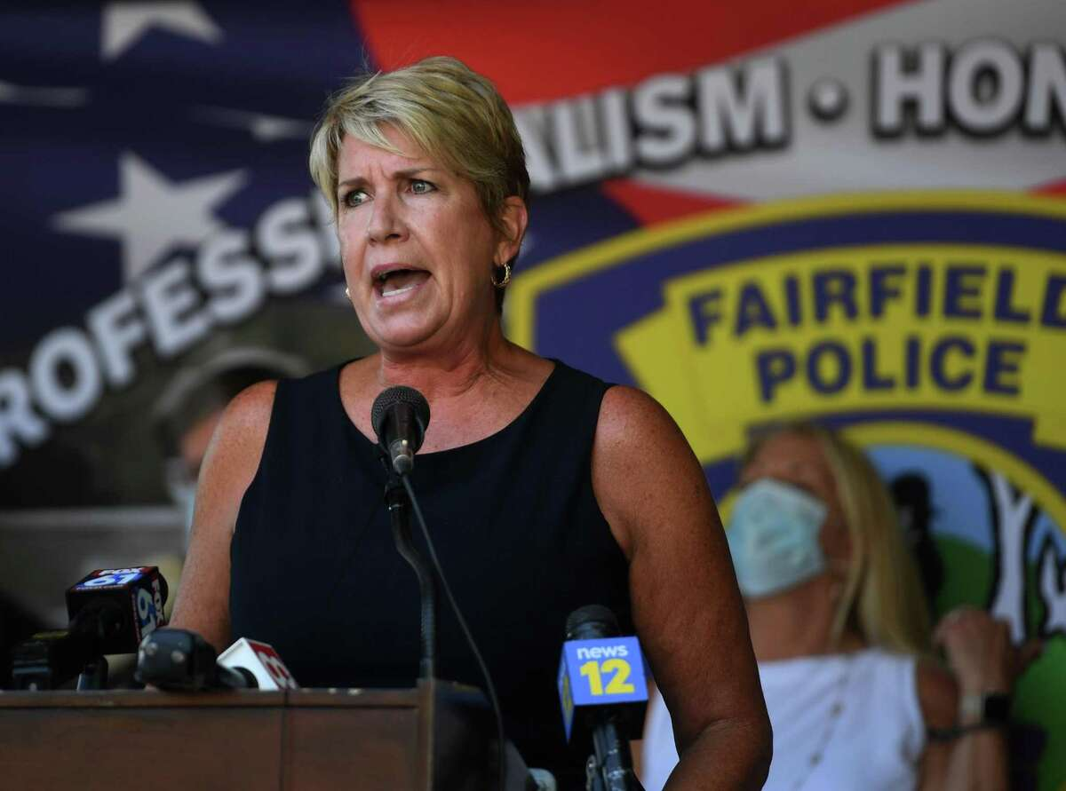 State Rep. Laura Devlin speaks during a press conference in opposition to police bill HB-6004 outside Fairfield Police Headquarters in Fairfield, Conn. on Monday, Julty 27, 2020.