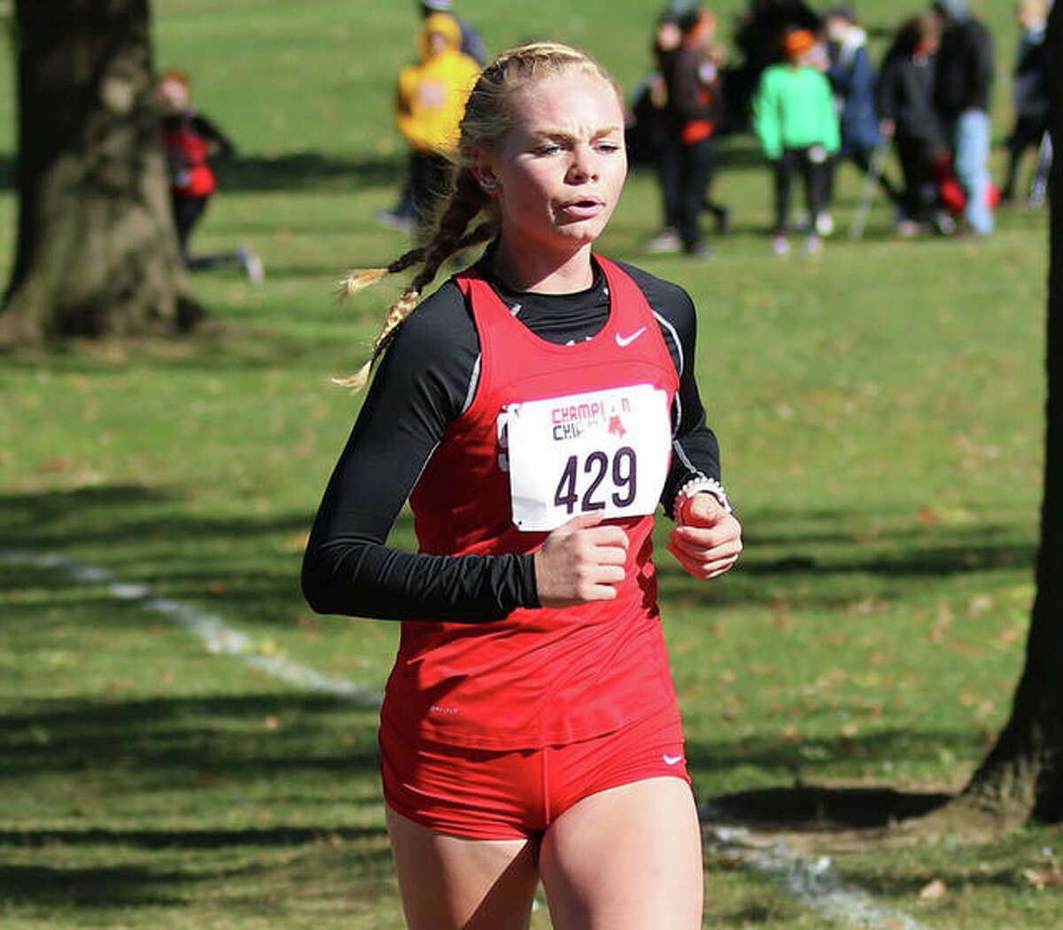Staunton senior Dana Jarden, shown running in the Decatur St. Teresa Class 1A Sectional in Forsyth, as among the high school cross country runners honored among 2020's best by the Alton Road Runners Club.
