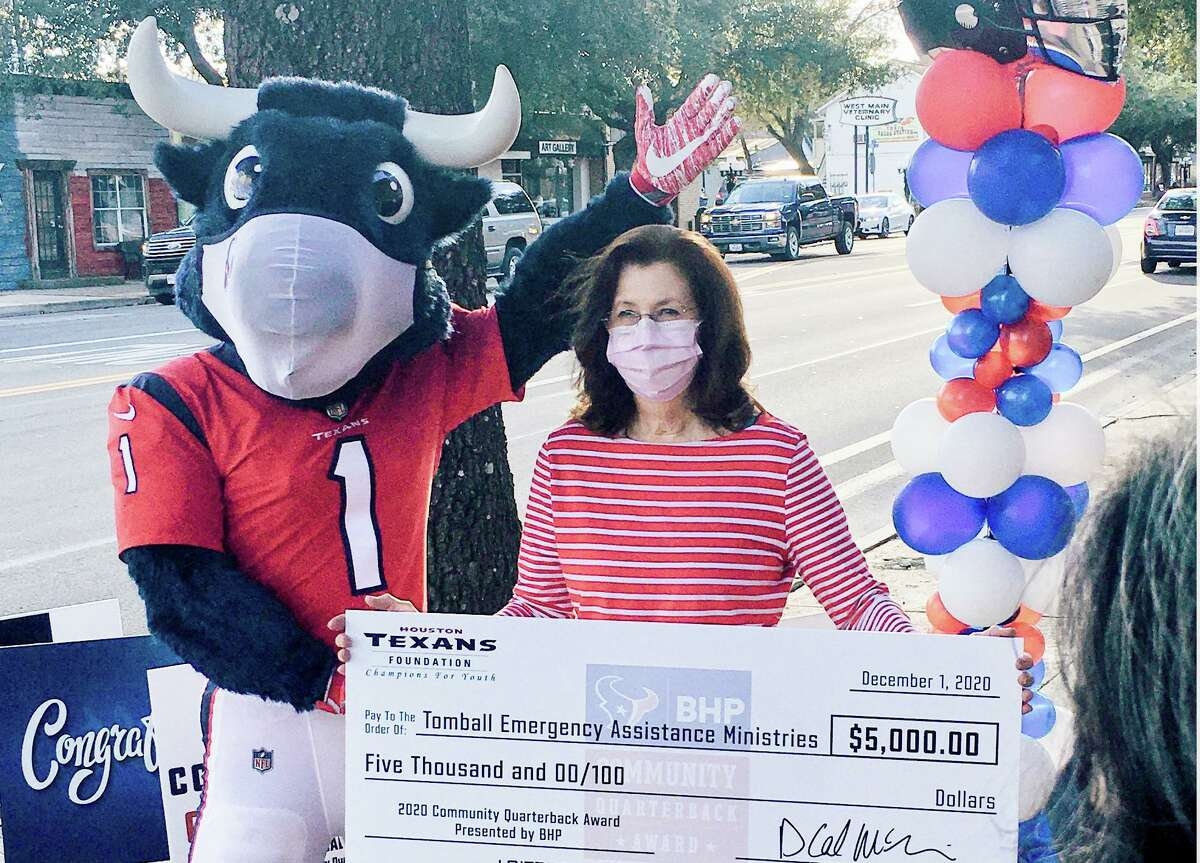 Colleen Chalker, Tomball Emergency Assistance Ministries food pantry manager, is one of nine finalists for the Houston Texans Community Quarterback Awards through United Way.