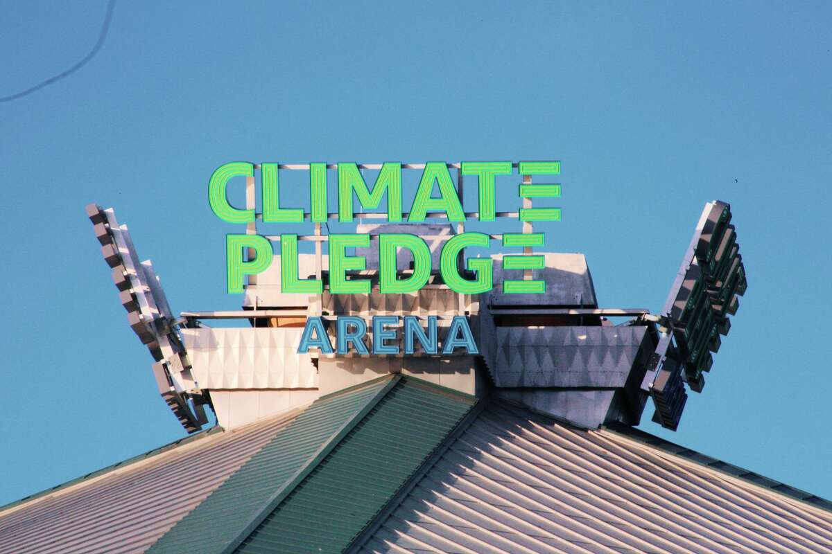 Climate Pledge Arena signage seen from the outside of the arena on December 5, 2020 in Seattle, Wash.